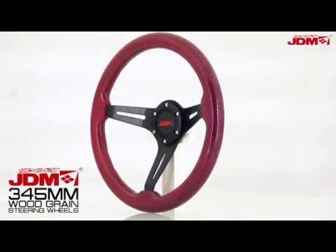 JDM SPORT 345MM METALLIC RED WOOD GRAIN STEERING WHEEL