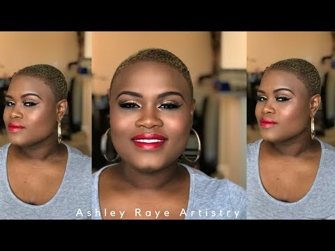 Gold Juice Eyes with a Classic Red Lip! Ashley Raye Artistry Tutorials