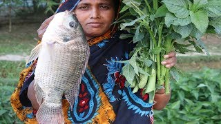 Village Food Green Amaranth And Tilapia Fish Recipe Healthy Cooking Farm Fresh Green Amaranth Curry