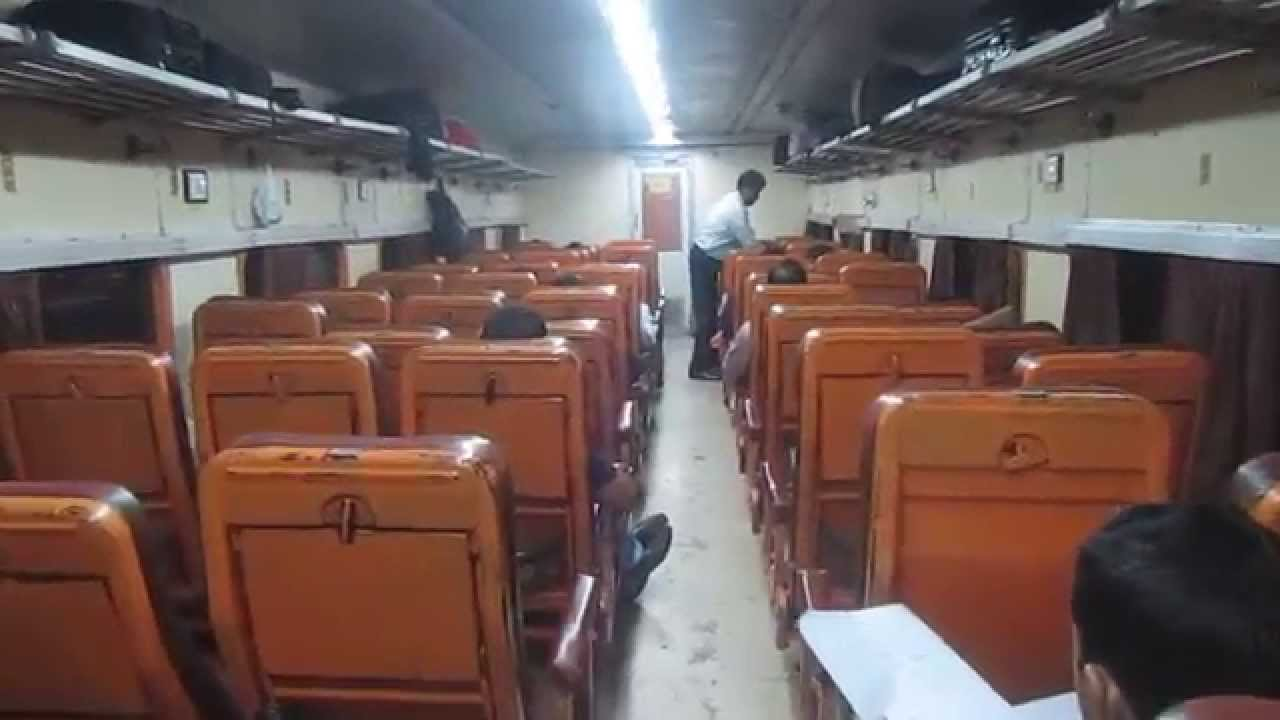 ac chair car cc coach interior of indian railways indrayani express