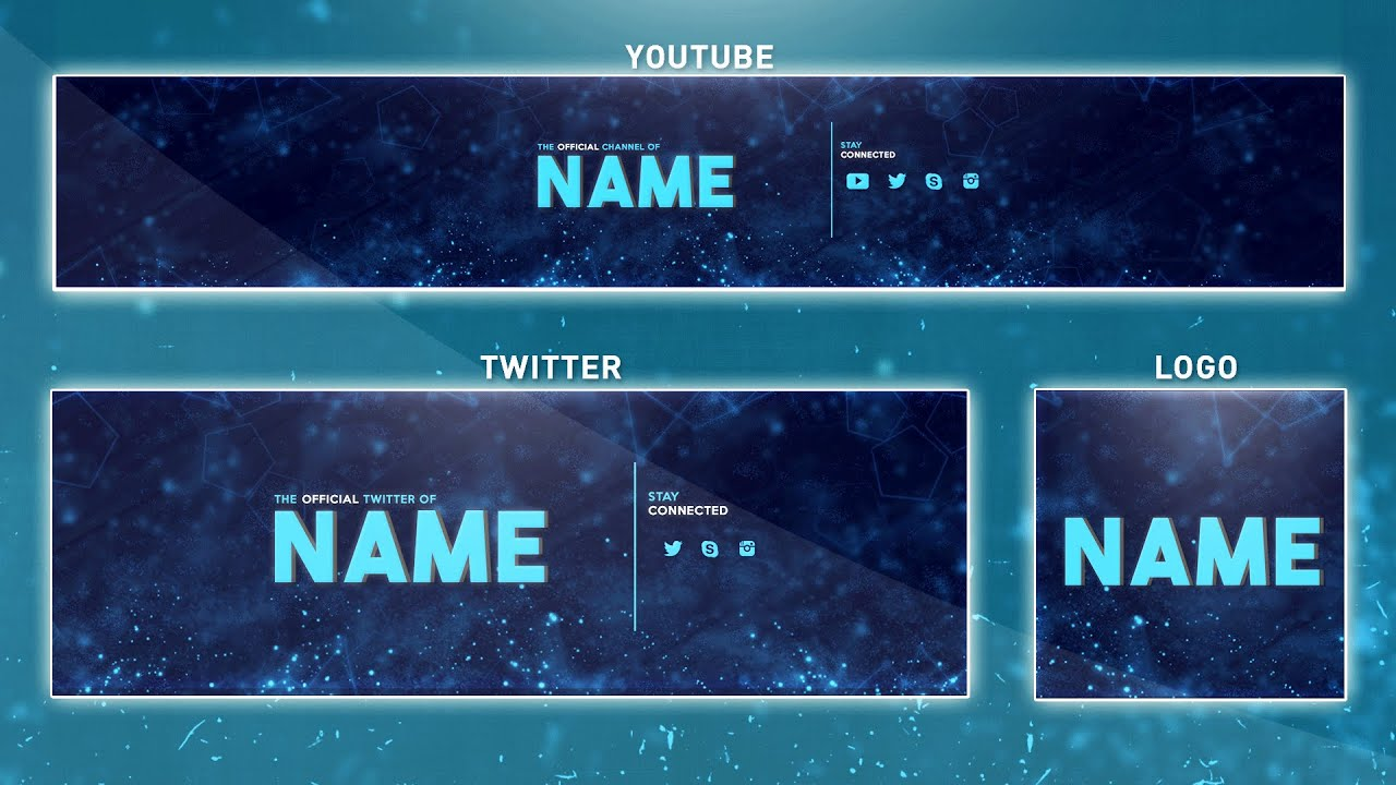 Free YouTube Banner Template | Photoshop (Banner + Logo + Twitter ...