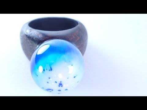 How To Make a Ring with a Planet, Secret Wood and Epoxy Resin (Ocean Planet)