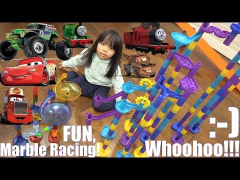 Kids † TOY RACING GAME! Marble Racing Disney Cars, Thomas and Friends and Monster Jam. Race #34