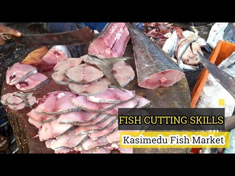 Vanjaram Fish Boneless Cutting & Chopping in Kasimedu Fish market | Fish Cutting in Kasimedu Chennai