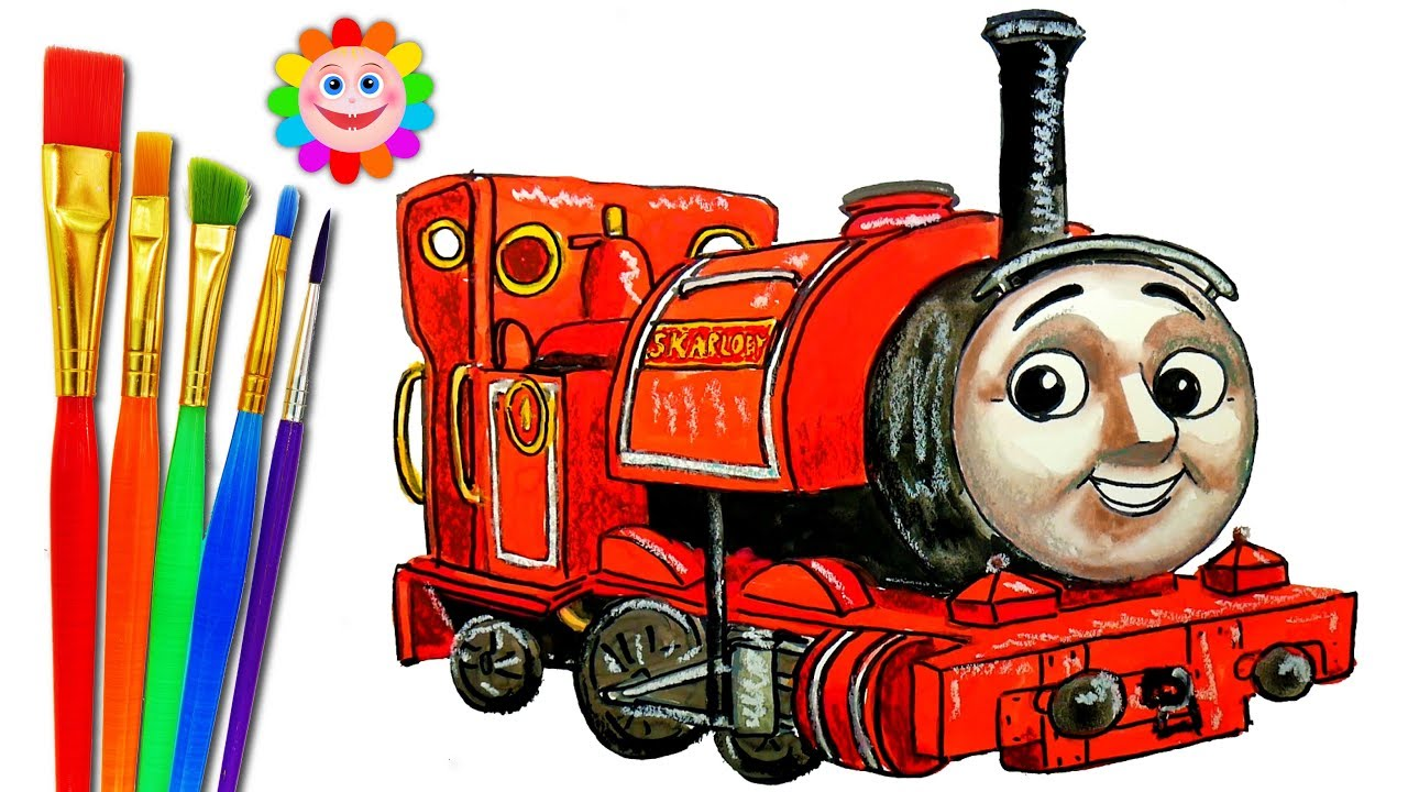 How to DRAW TRAIN Thomas and Friends Coloring Pages SKARLOEY Train     How to DRAW TRAIN Thomas and Friends Coloring Pages SKARLOEY Train Video  for Children
