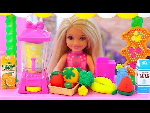 Barbie Fruit Juice Shop and Baby doll toys play Barbie Hair