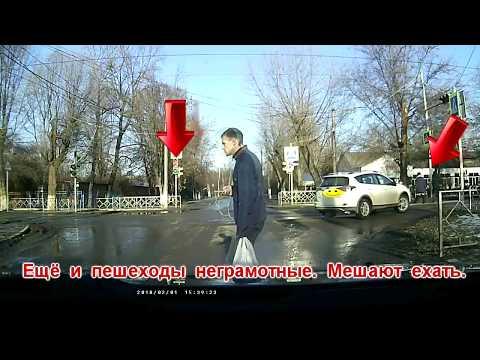 Неадекватный водитель на перекрёстке. Зерноград.