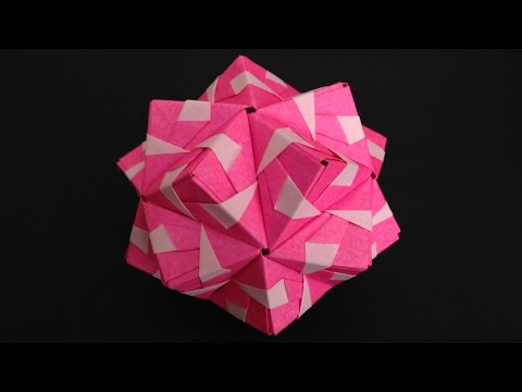 Origami Kusudama sonobe inside out 30units instructions折り紙のくす玉 薗部式 裏出し30ユニット 折り方