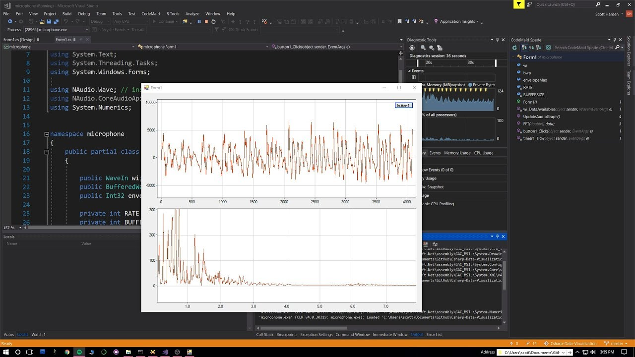 Realtime Microphone Audio FFT Graph with C#