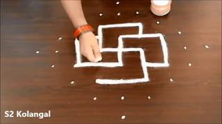 easy rangoli designs with 9 to 1 dots - easy swastika kolam designs - easy muggulu