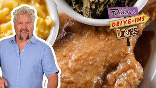 Guy Fieri Eats FRIED and SMOTHERED Pork Chops (from #DDD) | Food Network