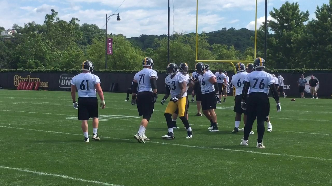 official photos c4064 f88a0 Pittsburgh Steelers OL coach Mike Munchak teaches up OL at OTAs