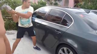 Smashing BMW windows with Axe, Stone, Screwdriver... Fail (ENG sub)