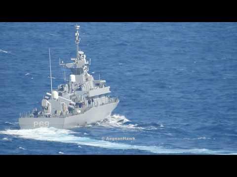 Hellenic Navy Fast Attack Craft P-69 HS Krystallidis patrolling Chios Strait.