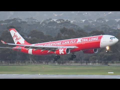 Air Asia A330 w/ REVERSE THRUST Landing at Melbourne Airport