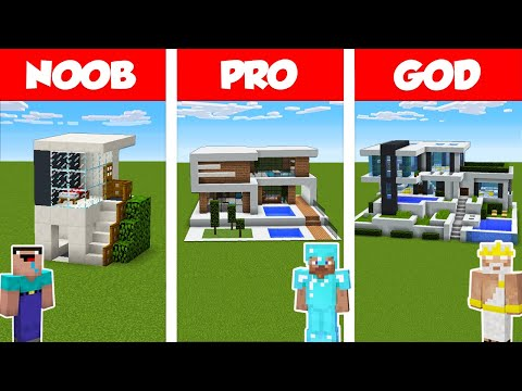 Minecraft NOOB Vs PRO Vs GOD: MODERN HOUSE BUILD CHALLENGE In Minecraft / Animation