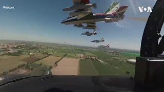 致敬抗疫民众 意大利空军表演队飞跃米兰上空