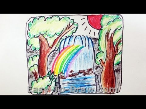 How To Draw A Cartoon Waterfalls Free Easy Tutorial For Kids