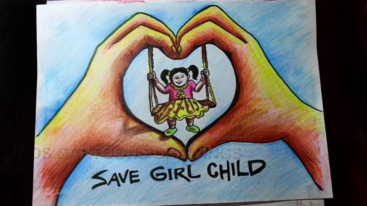 How To Draw Save Girl Child Beti Bachao Beti Padhao Poster Drawing Youtube