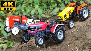 HMT Tractor Stuck in the water  mud and pulling out Swaraj, Mahindra Arjun | Ashu Toys Tv