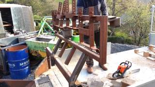 Cutting Pallets For Firewood (kindling) With My Timber Grabber (jaws) Sawing Pallets