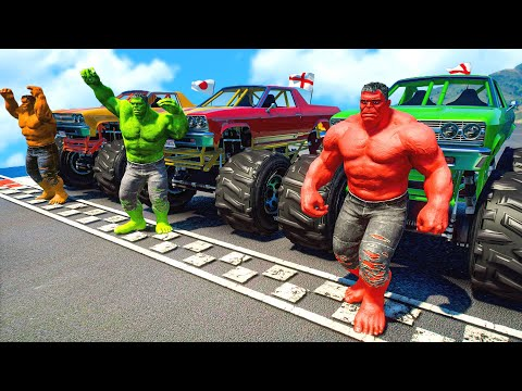 Hulk Army With MONSTER TRUCK Parkour Challenge SUPERHEROES Spiderman,Goku,Batman(Funny Contest)#103 |