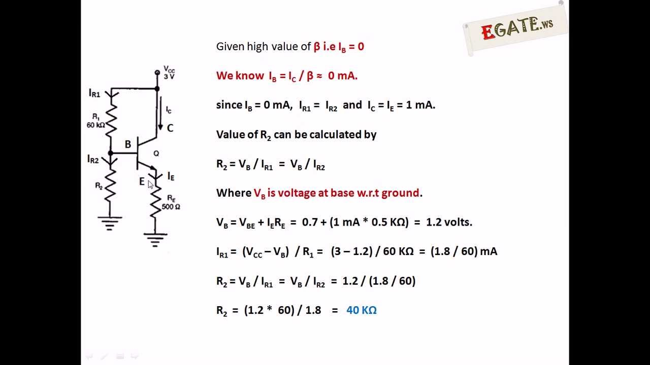 Problem on Transistor Biasing - GATE 2013 Solved Paper (Electron Devices)  (www egate ws)