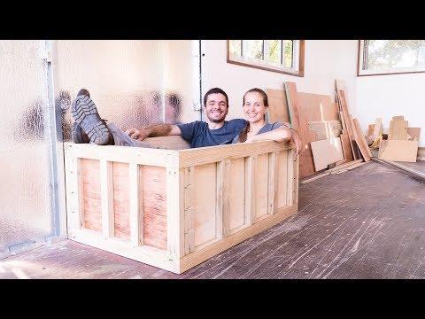 Converting a plywood box into a Bathtub!! Part 2 😎 LTP #070