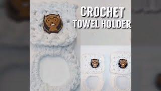 Modern Crochet towel holder- Crossover Stitch towel topper