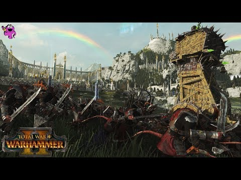 Total War Warhammer 2 Gameplay - Epic Skaven Siege of the High Elves Fortress Gate