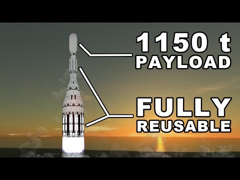 FULLY REUSABLE 1150 ton Payload Launcher - Space X style rocket in Kerbal Space Program