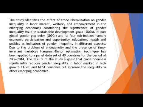 Trade Liberalization and Gender Inequality in Emerging Economies   from the Perspective of Sustainab