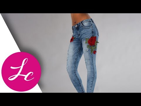 LUSTYCHIC.COM | ROSLYN APPLIQUE ROSE FRAYED RIPPED JEANS | LUSTY CHIC H008