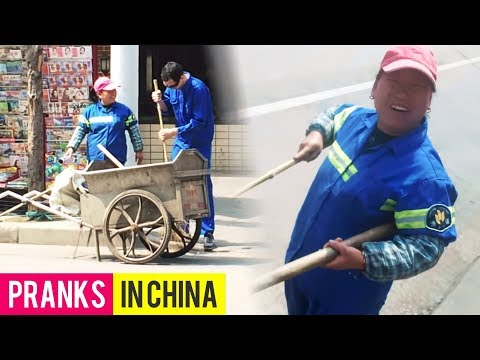 HELPING CHINESE STREET CLEANERS