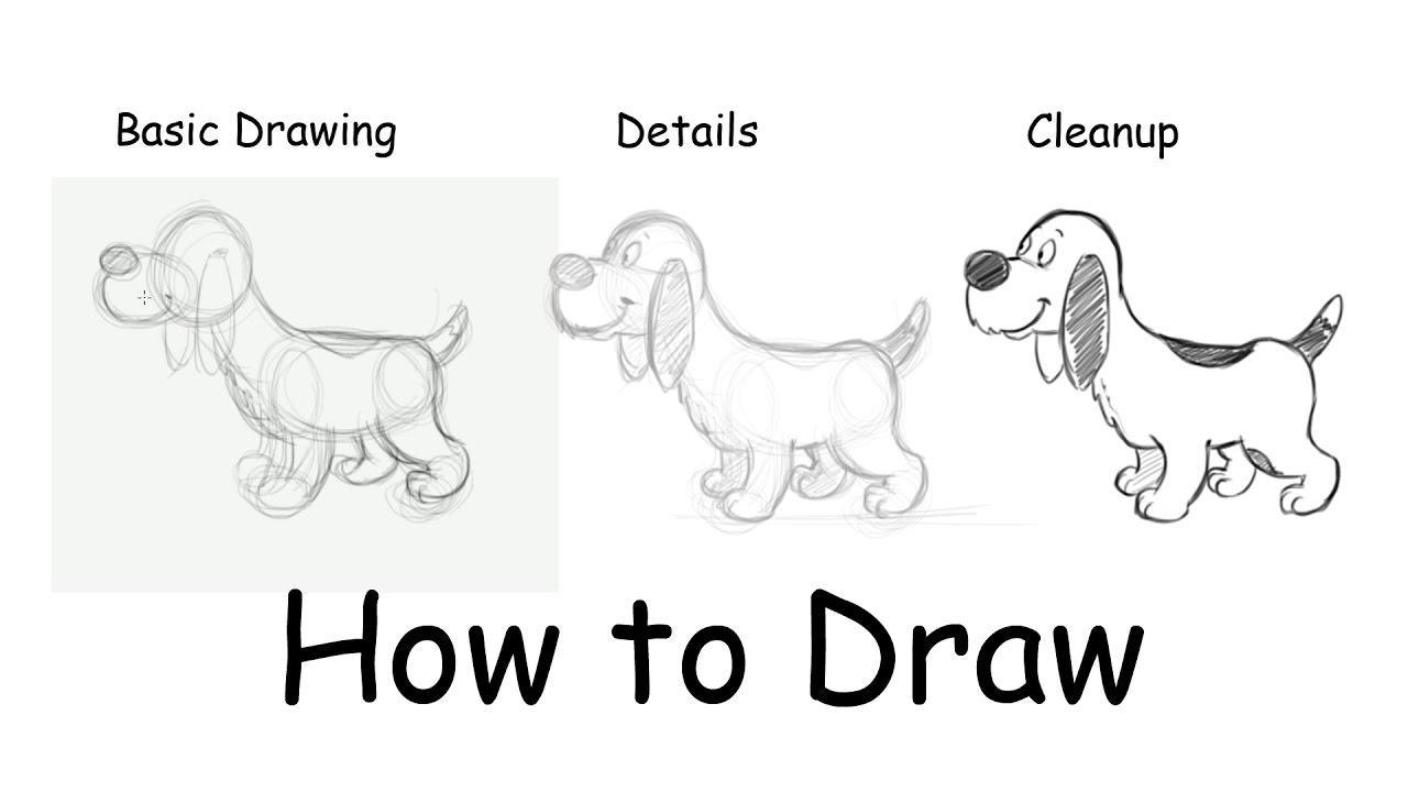 how to draw a cute cartoon dog step by step youtube