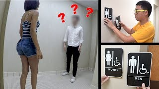 Switching Bathroom Signs Prank Part 2!