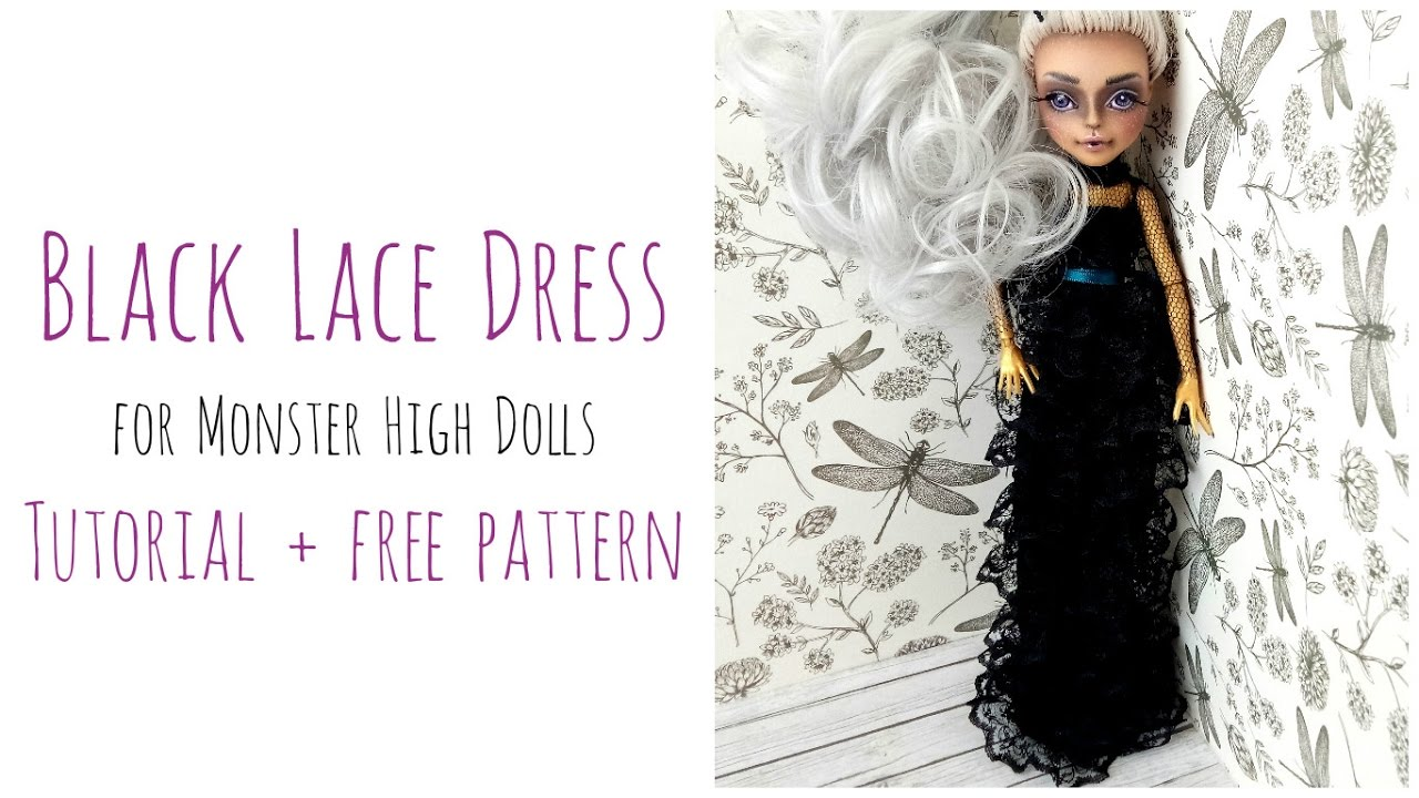 How to make a doll dress + free pattern / Black Lace Dress - Gothic ...
