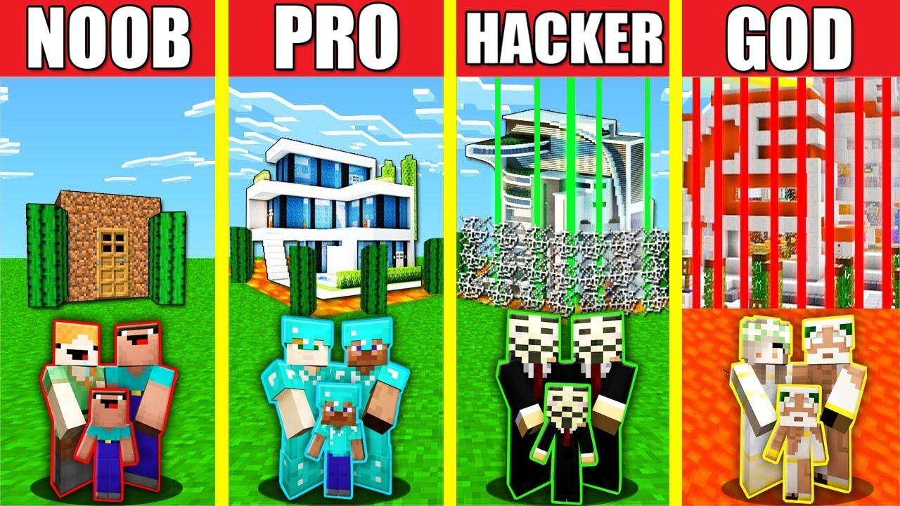Minecraft Battle: SAFEST BASE HOUSE BUILD CHALLENGE - NOOB vs PRO vs HACKER vs GOD Animation SECURE