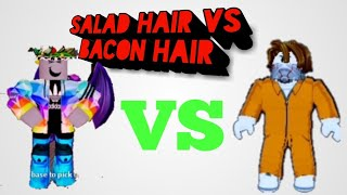 Salad Hair vs Bacon Hair  Roblox Jailbreak comparisen