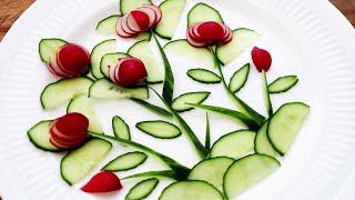 Super Salad Decoration - Red Radish & Cucumber Designing Garnish