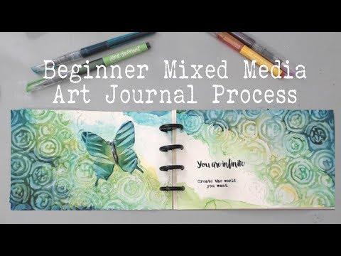 BEGINNERS ART JOURNAL PROCESS- How to start an art journal page?- Mixed Media  Art Journaling