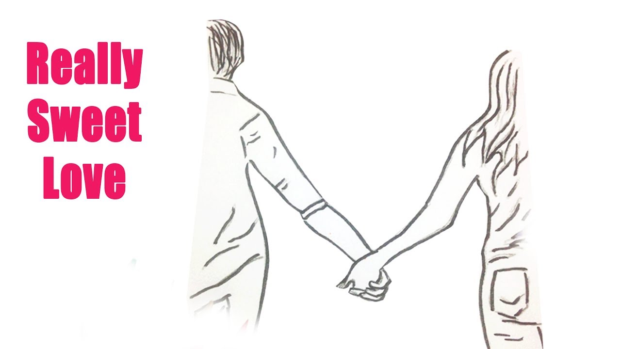 How to draw people holding hands - A boy and a girl holding hands