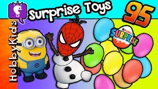 95 SURPRISE Toys! Spiderman Olaf Minions KINDER Egg HobbyKidsTV