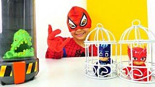 Герои в Масках и Человек паук. Видео для Детей Pj Masks