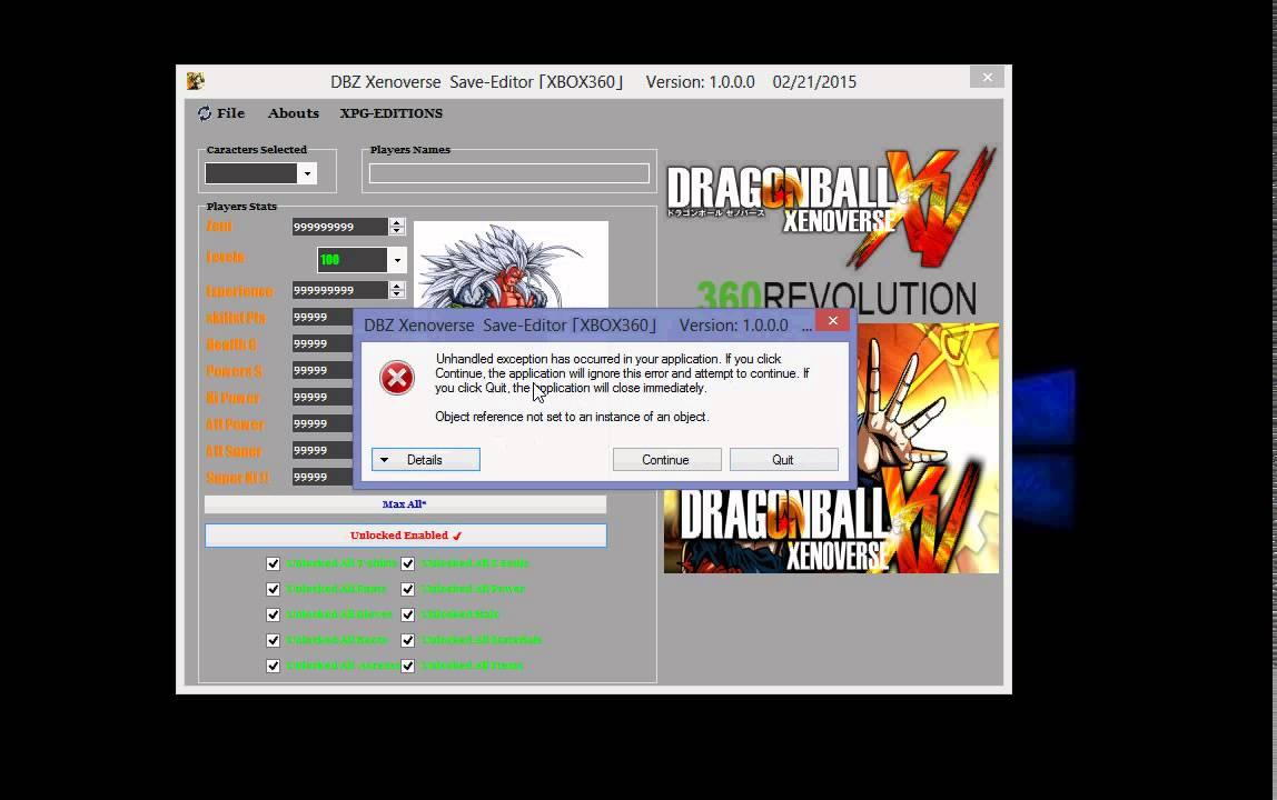Dragonball Xenoverse Xbox360 / Ps3 Gamesave Editor