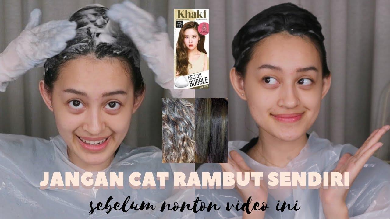 CAT RAMBUT ASH SENDIRI TANPA BLEACH. SUKSES?   Mise en Scene Hello Bubble Khaki Ash   Nadya Aqilla