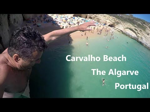Best Beaches Portugal - Carvalho Beach, Lagoa, Algarve - Cliffs, Caves and an Epic Belly Flop!!!