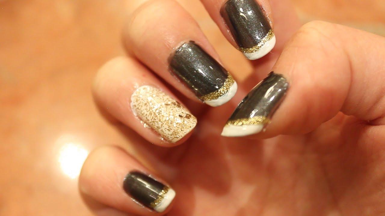 Glittery Graduation Nails Tutorial ♚ Youtube