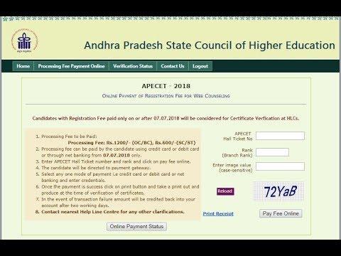 AP ECET 2018 Online Certificate Verification Processing Fee Payment ...