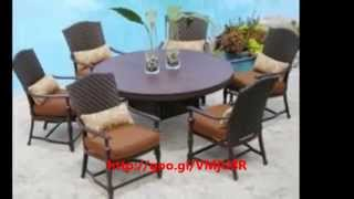 Round Patio Table - Wicker Round 4 Bench Patio Furniture Sofa Set With Lp Gas Fire Pit Ppc-013